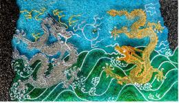 Большой Марина. Китайские драконы ( 50x25 см / авторская техника / 2016 г. )