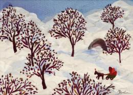 Gershman Marina. A Winter Ride ( 18x13 см / ткань / авторская техника / 2011 г. )