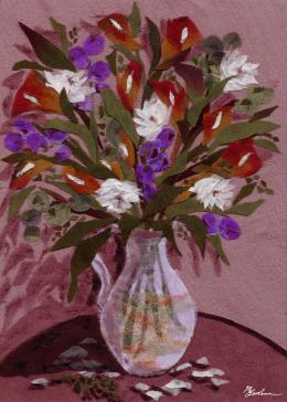 Gershman Marina. Bouquet on a Round Table ( 13x18 см / ткань / авторская техника / 2010 г. )
