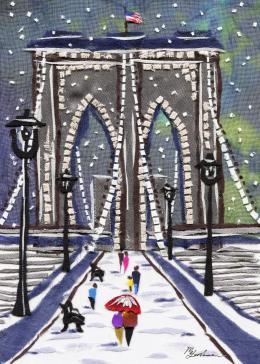 Gershman Marina. Brooklyn Bridge, New York ( 13x18 см / ткань / авторская техника / 2012 г. )
