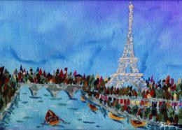 Gershman Marina. Paris ( 18x13 см / ткань / авторская техника / 2012 г. )