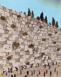 Gershman Marina. Wailing Wall, Jerusalem ( 20x25 см / ткань / авторская техника / 2011 г. )