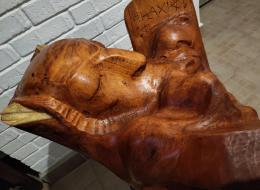 Фирер Олег. Моисей со скрижалями ( второй разворот )  ( 55x60 см / дерево / 2021 г. )